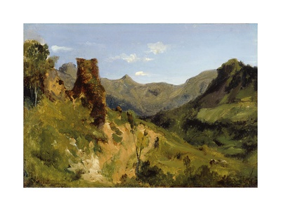 Valley in the Auvergne Mountains, 1830 (Oil on Paper Mounted on Canvas) Giclee Print by Theodore Rousseau