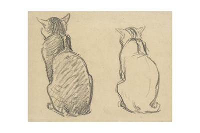 Two Studies of a Cat Giclee Print by Theophile Alexandre Steinlen