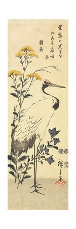 Patrinia, Chinese Bellflower and a Crane, March 1853 Giclee Print by Utagawa Hiroshige