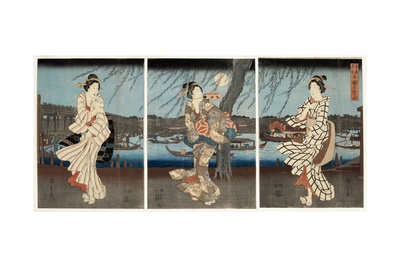 A Cool Summer Evening at Ryogoku, 1848-51 Giclee Print by Utagawa Hiroshige