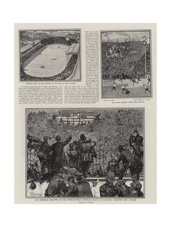 The Terrible Disaster at the International Football Match at Glasgow, Rescuing the Injured Giclee Print by Walter Duncan