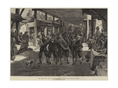 The Afghan War, the 4th Goorkhas Marching Through the Bazaar, Jellalabad Giclee Print by William Heysham Overend