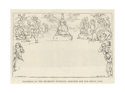 Facsimile of the Mulready Envelope, Designed for the Penny Post Giclee Print by William Mulready