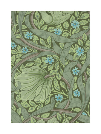 William Morris Wallpaper Sample with Forget-Me-Nots, C.1870 Giclee Print by William Morris
