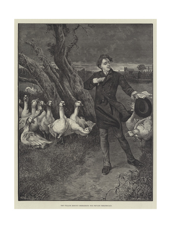 The Village Roscius Rehearsing for Private Theatricals Giclee Print by William Weekes