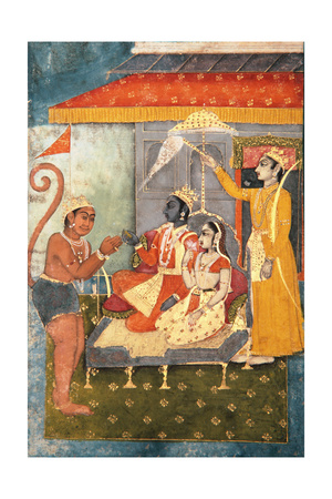 Rama and Sita Enthroned, Adored by Hanuman; Lakshmana Holds a Morchal, C.1780 Giclee Print