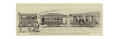 Steam Tramways on Country Roads in Italy, Engine and Train, Vercelli Trino Line Giclee Print