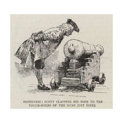 Sheerness, Scott Clapping His Nose to the Touch-Holes of the Guns Just Fired Giclee Print