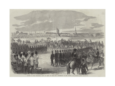 Review of the Volunteer Corps of Kent, by the Lord Lieutenant of the County, on Chatham Lines Giclee Print