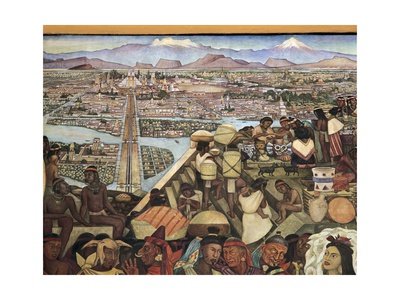 Close-Up of a Mural, the Great City of Tenochtitlan, Mexico City, Mexico Giclee Print
