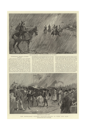 The Newmarket October Meeting, Racing in Wind and Rain Giclee Print