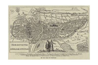 An Old Plan of Norwich Giclee Print