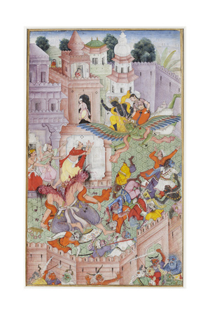 Krishna Cleaves the Demon Narakasura with His Discus, C.1585-90 Giclee Print