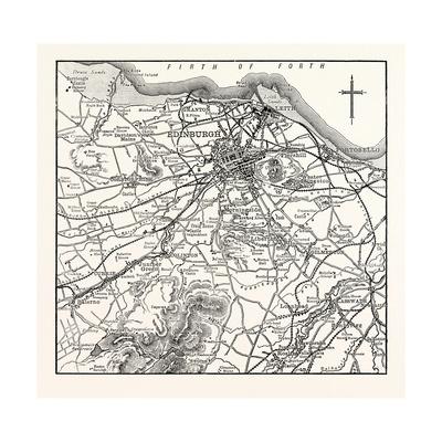 Map of the Environs of Edinburgh Giclee Print
