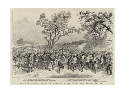 The Great Heat, an Early Morning March of British Troops in India Giclee Print