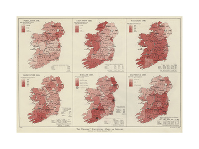 The Graphic Statistical Maps of Ireland Giclee Print