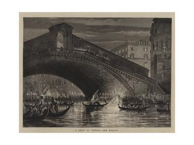 A Fete at Venice, the Rialto Giclee Print