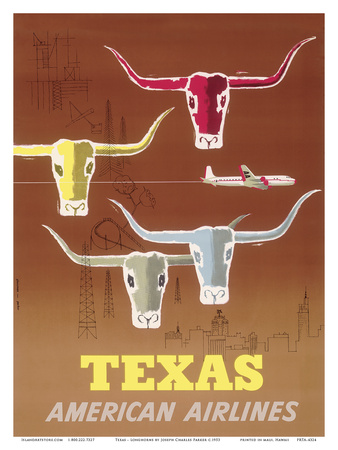 Texas - Longhorns - American Airlines Prints by Joseph Charles Parker