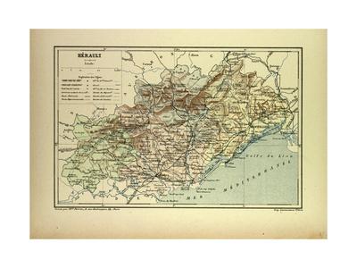Map of Hérault France Giclee Print