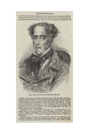 The Late Vicomte De Chateaubriand Giclee Print
