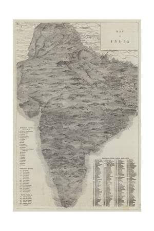 Map of India Giclee Print