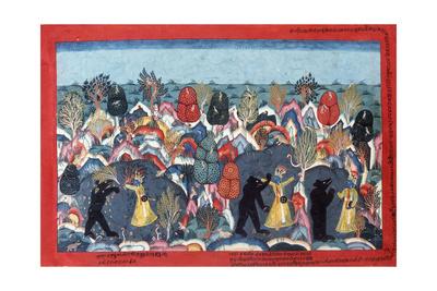 Krishna Fighting Jambavata, King of the Bears, C. 1775 Giclee Print