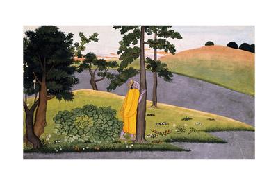 Krishna Leaning Against a Tree, Awaiting Radha, C.1780 Giclee Print
