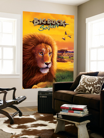 Big Buck Safari Lion Cabinet Art with Logo Wall Mural by John Youssi