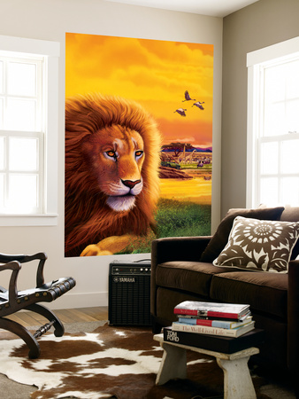 Big Buck Safari Lion Cabinet Art Wall Mural by John Youssi