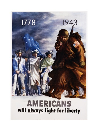 Americans Will Always Fight for Liberty Poster Metal Print by Bernard Perlin