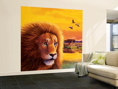 Big Buck Safari Lion Cabinet Art Wall Mural – Large by John Youssi