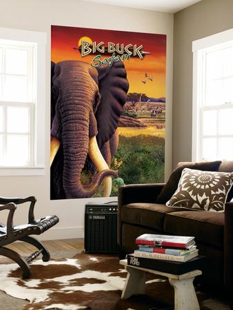 Big Buck Safari Elephant Cabinet Art  with Logo Wall Mural by John Youssi