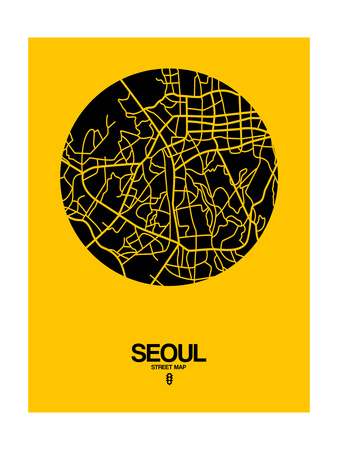 Seoul Street Map Yellow Print by  NaxArt