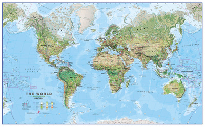 World Physical Megamap 1:20, Laminated Wall Map Plakat laminowany