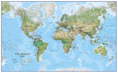 World Physical Megamap 1:20, Laminated Wall Map Photo