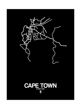 Cape Town Street Map Black Prints by  NaxArt