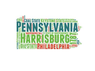 Pennsylvania Word Cloud Map Prints by  NaxArt