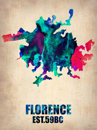 Florence watercolor abstract art map poster, popular college travel destination