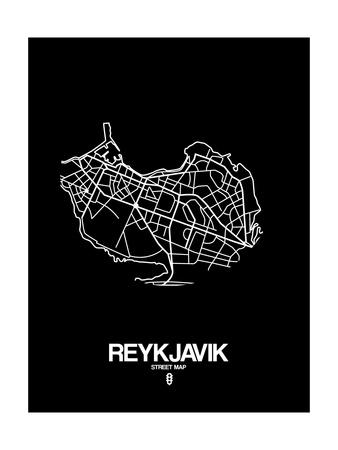Reykjavik Street Map Black Art by  NaxArt