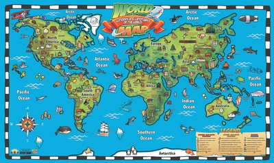 Kid's World Map Interactive Wall Chart Posters