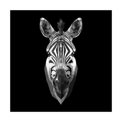 Black Zebra Head Posters by  NaxArt