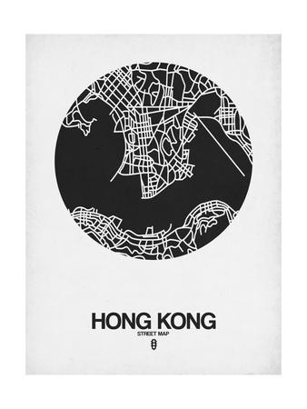Hong Kong Street Map Black on White Art by  NaxArt