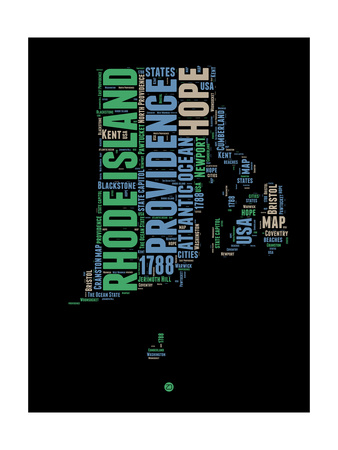 Rhode Island Word Cloud 2 Posters by  NaxArt