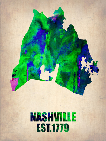 Nashville Watercolor Map Plastic Sign by  NaxArt