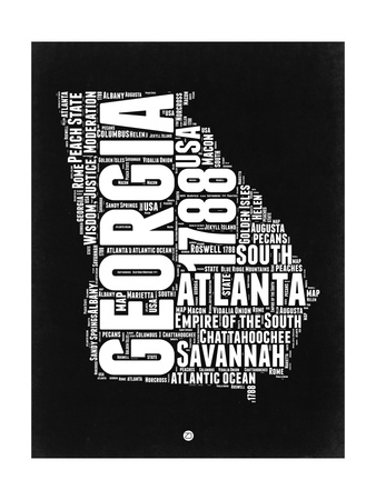 Georgia Black and White Map Prints by  NaxArt