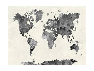 World Map in Watercolor Gray Umělecká reprodukce