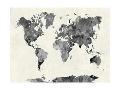 World Map in Watercolor Gray Sanatsal Reprodüksiyon