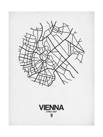 Vienna Street Map White Poster by  NaxArt