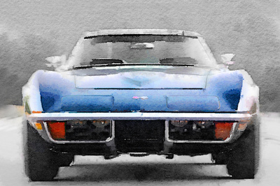 1972 Corvette Front End Watercolor Plastic Sign by  NaxArt