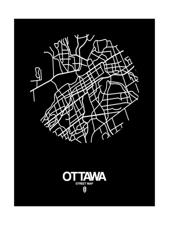 Ottawa Street Map Black Posters by  NaxArt